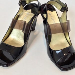 Taryn Rose open toe Patent Leather Heels